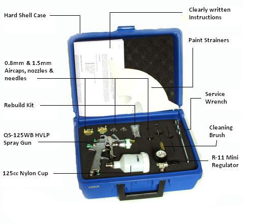 AUTO /& WOODWORKING QualSpray QS-125WBKIT#1 HVLP SPRAY Gun PKG
